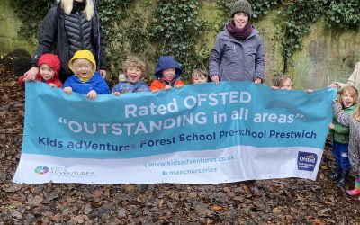 "Kids adVentures Forest School Prestwich Rated ""Outstanding in all areas."""